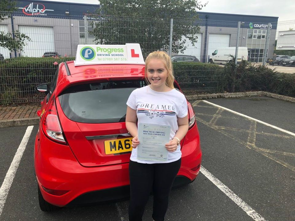 Emily from Golborne passed her test first time with Progress Driving School