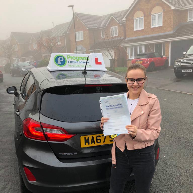 Abbey from Lowton passed her driving test first time after learning to drive with Progress Driving School.