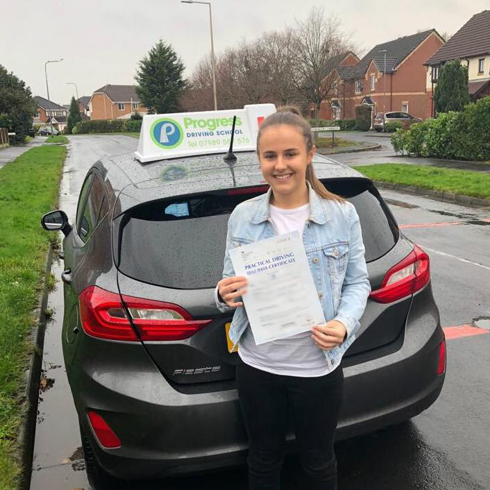 Lauren from Lowton passed her driving test first time at Atherton test centre after learning with Progress Driving School. 24-hours later, her twin sister did too!