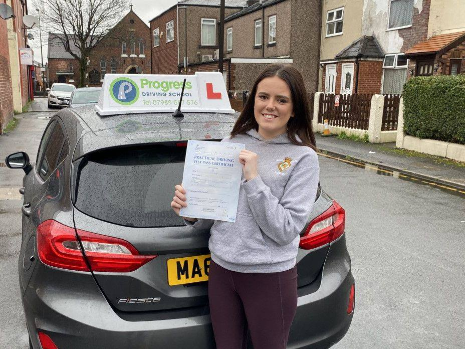 Nikita passed her driving test with Progress Driving School