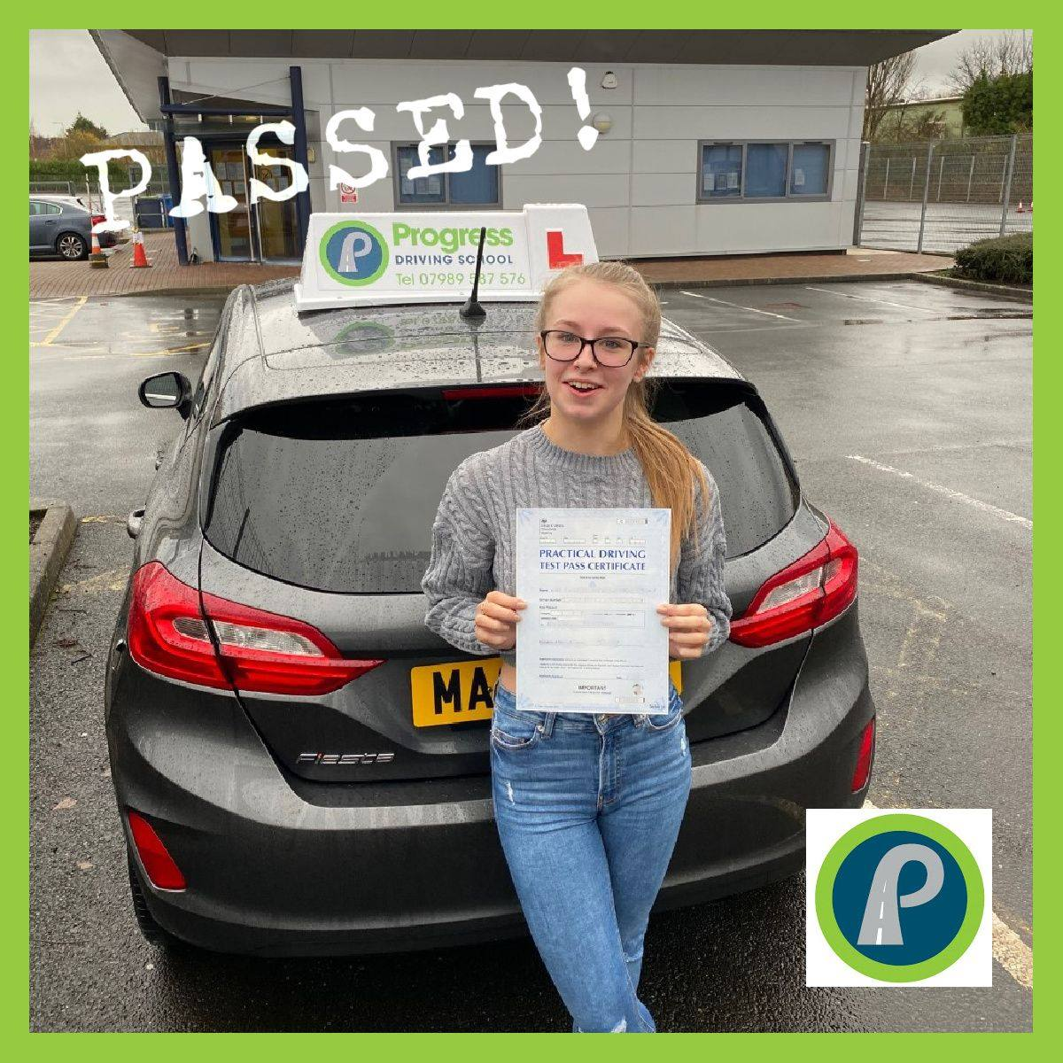 Courtney from Golborne passed her driving test first time after learning with Progress Driving School - despite being initially anxious about driving.