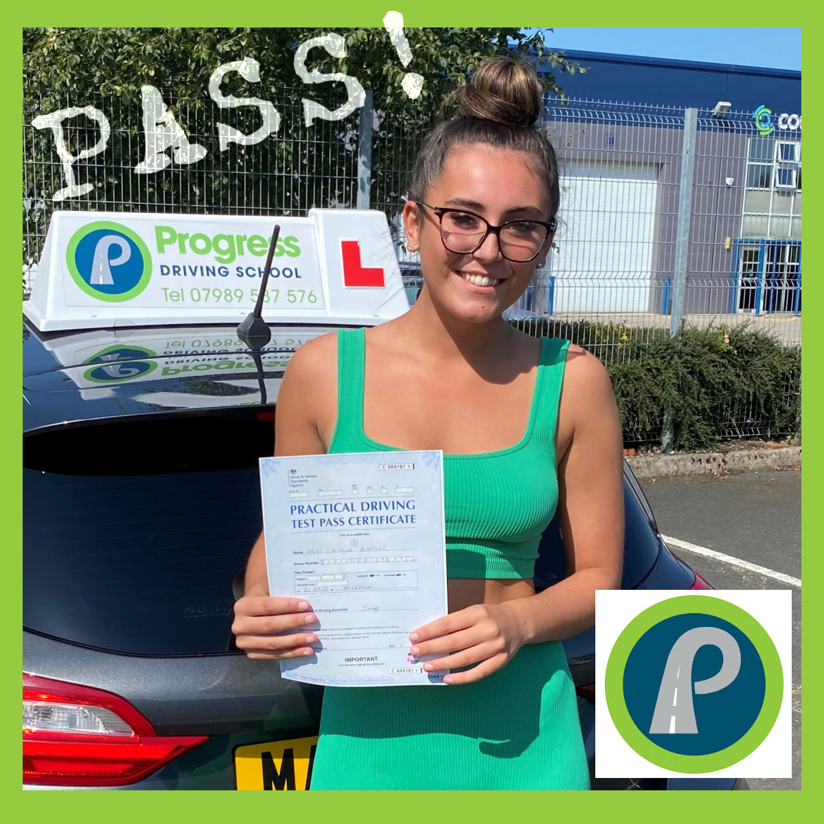 Caitlin passed with Progress Driving School