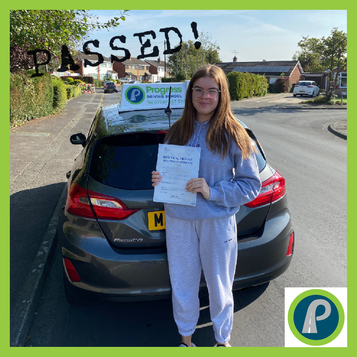 Megan from Lowton passed her driving test with Progress Driving School
