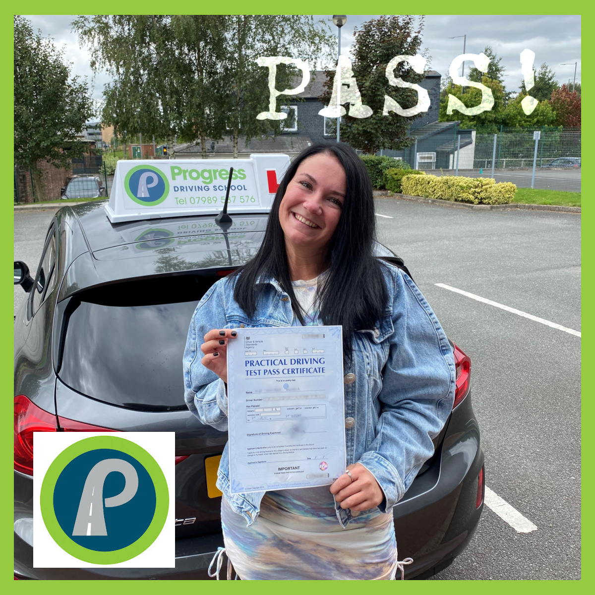 Chelsea passed her driving test with Progress Driving School